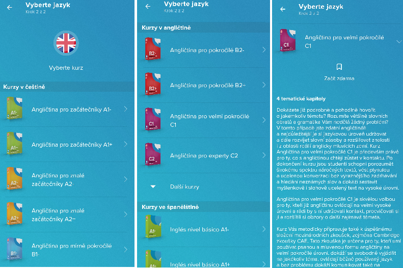 Mobilní aplikace Online jazyky