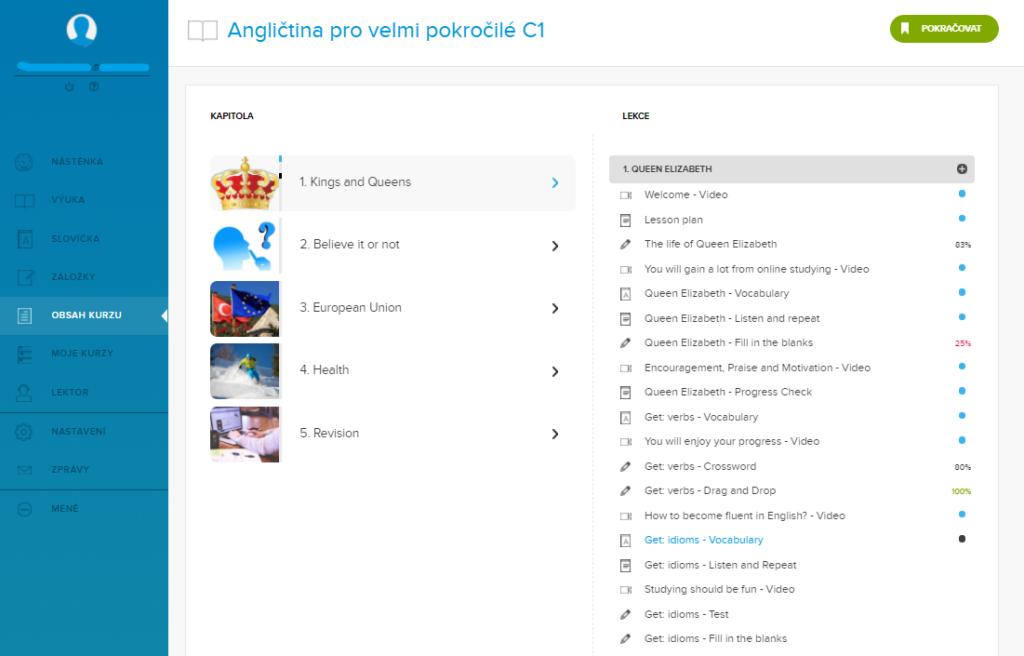Obsah kurzu Online jazyky