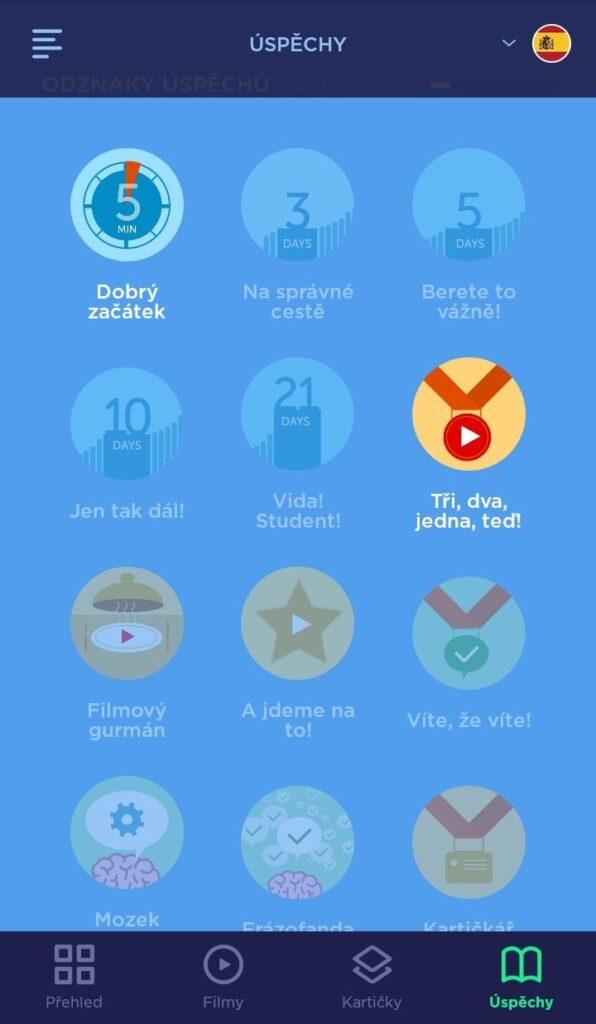 Odnáčky úspěchů v aplikaci Mooveez